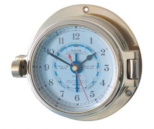 Brass Nautical Porthole Tide Clock 117mm OA (18029)